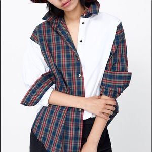 ZARA Loose Fitting Patchwork Button Up Long Sleeve